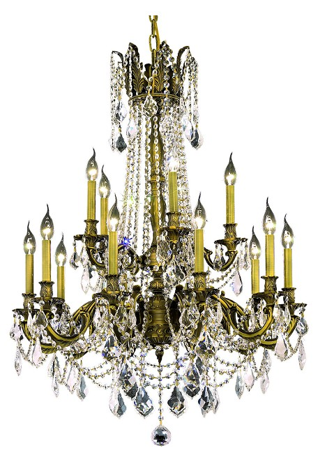 "Rosalia Collection 15-Light 28"" Antique Bronze Chandelier with Clear  Swarovski Strass Crystal 9215D28AB/SS"