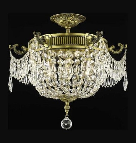"Esperanza Collection 6-Light 18"" Antique Bronze Semi Flush Mount with Clear  Swarovski Strass Crystal 9306F18AB/SS"