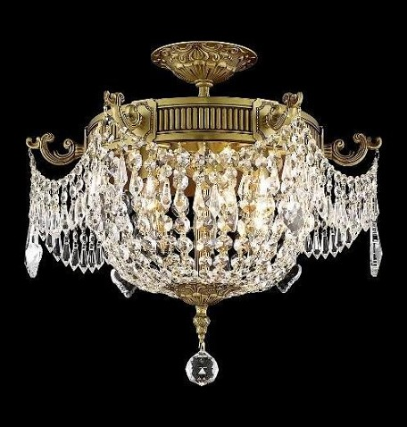 "Esperanza Collection 6-Light 18"" French Gold Semi Flush Mount with Clear Elegant Cut Crystal 9306F18FG/EC"