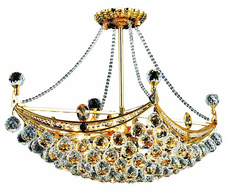 "Corona Collection 6-Light 14"" Gold Semi Flush Mount with Clear Elegant Cut Crystal 9800D24G/EC"