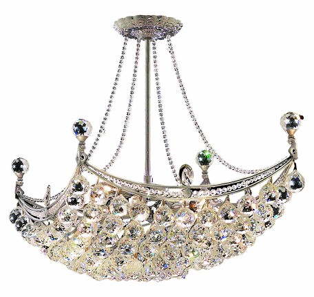 "Corona Collection 8-Light 16"" Chrome Semi Flush Mount with Clear  Swarovski Strass Crystal 9800D28C/SS"