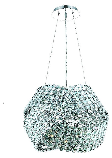 "Electron Collection 5-Light 24"" Chrome Pendant with Clear Elegant Cut Crystal 9803D24C/EC"