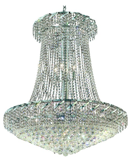 Elegant Lighting Eca1G36Sc/Sa Swarovski Spectra Clear Crystal Belenus 22-Light, Two-Tier Crystal Chandelier, Finished In Chrome With Clear Crystals