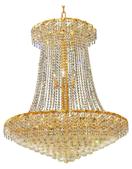 Elegant Cut Clear Crystal Belenus 22-Light, Two-Tier Crystal Chandelier, Finished in Gold with Clear Crystals