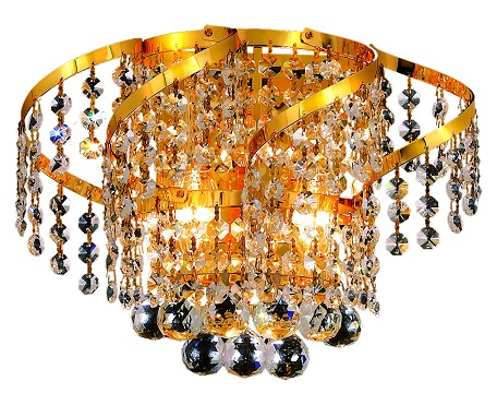 "Belenus Collection 2-Light 12"" Gold Wall Sconce with Clear Elegant Cut Crystal ECA1W12G/EC"