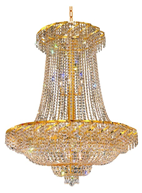 Elegant Lighting Eca2G36Sg/Ss Swarovski Elements Clear Crystal Belenus 22-Light, Two-Tier Crystal Chandelier, Finished In Gold With Clear Crystals