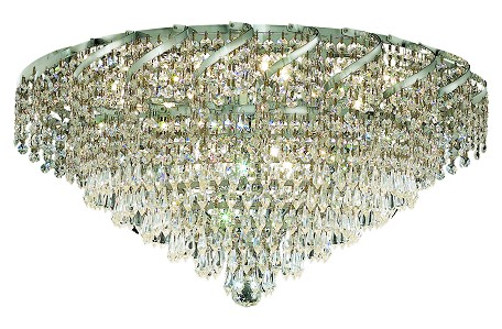 "Belenus Collection 10-Light 26"" Chrome Flush Mount with Clear Swarovski Spectra Crystal ECA4F26C/SA"
