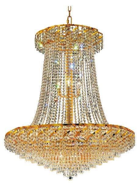 Elegant Lighting Eca4G36Sg/Ss Swarovski Elements Clear Crystal Belenus 22-Light, Two-Tier Crystal Chandelier, Finished In Gold With Clear Crystals