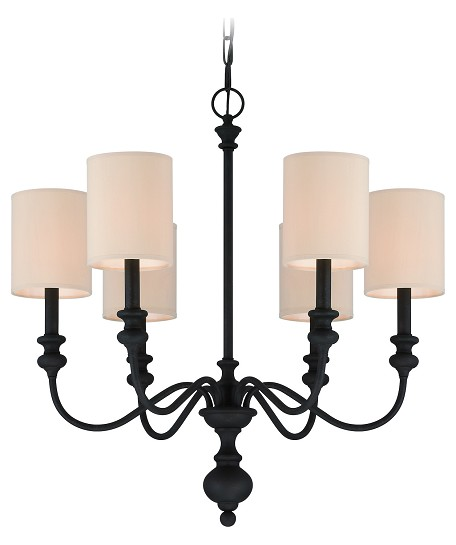 Jeremiah Six Light Natural Linen Shade Golden Bronze Up Chandelier - 28526-GB