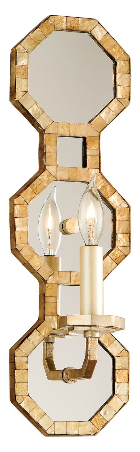 Stained Silver Leaf Regatta 1 Light Candle Style Wall Sconce with Hand Crafted Iron Frame and Smoked Capiz Shell Mosaic Plating