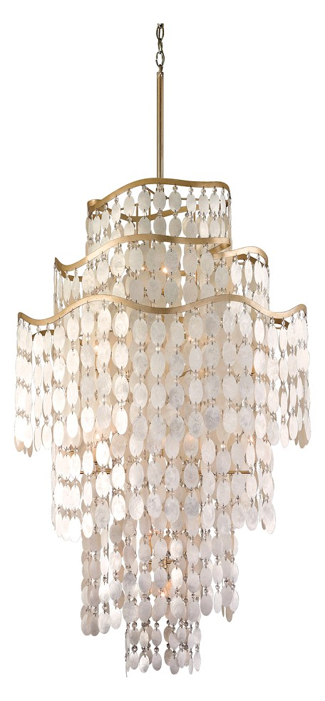 Champagne Leaf Dolce 19 Light Chandelier with Hand Crafted Iron Frame and Authentic Capiz Shell Accents
