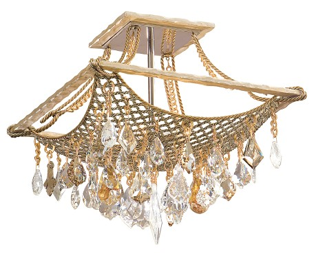 Silver And Gold Leaf Four Light Semi-Flush Ceiling Fixture From The Barcelona Collection