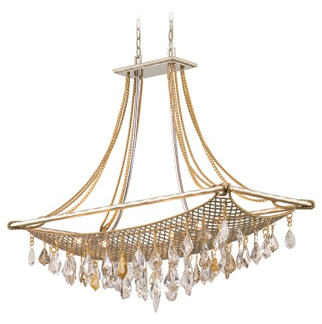 Silver And Gold Leaf Eight Light Large Island / Billiard Fixture From The Barcelona Collection