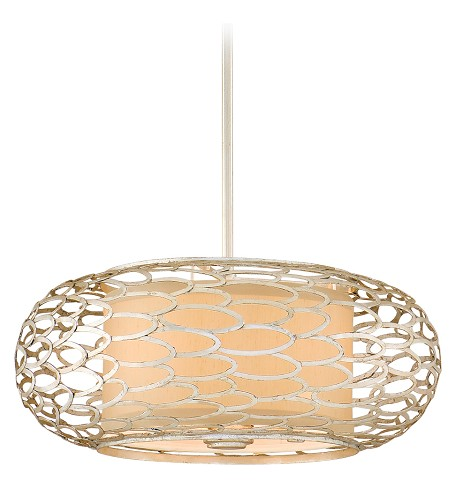Modern Silver Three Light Hanging Pendant From The Cesto Collection