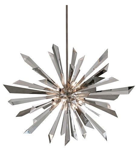 Silver Leaf Inertia 8 Light Modern Pendant with Hand Crafted Iron Frame and Crystal Diffuser