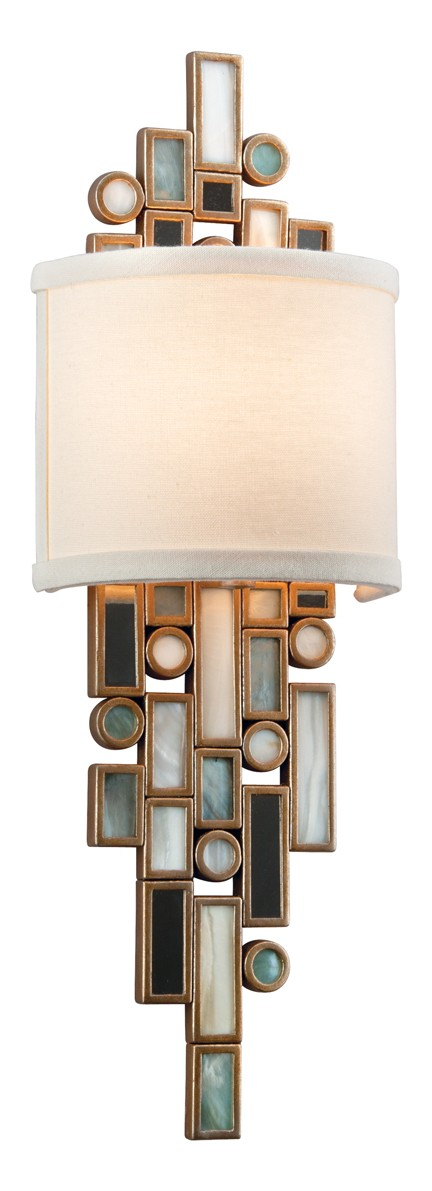 Dolcetti Silver Dolcetti 1 Light Wall Sconce with Hand Crafted Iron Frame and Mixed Shells, Crystal and Art Glass Accents