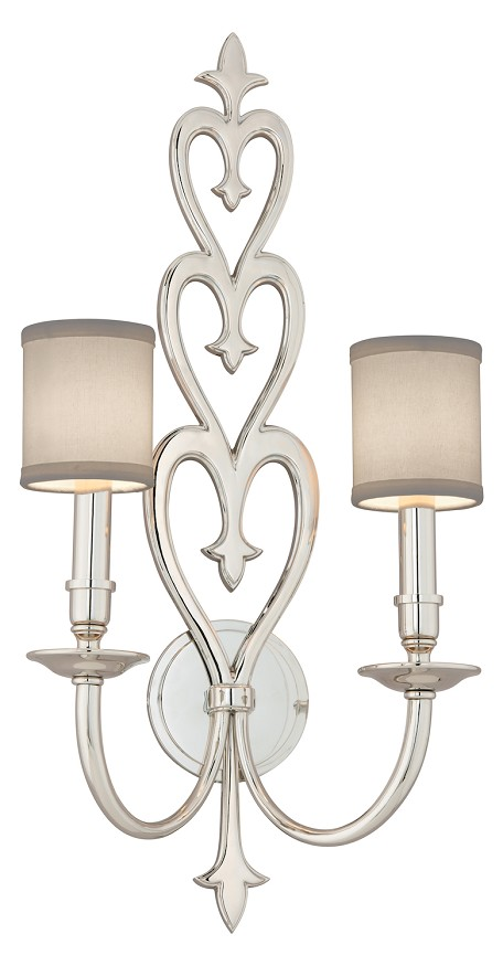 Polished Nickel Heart Throb 2 Light Solid Brass Wall Sconce