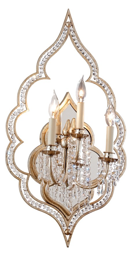 Silver Leaf Finish With Antique Mist Bijoux 3 Light Mirrored Wall Sconce