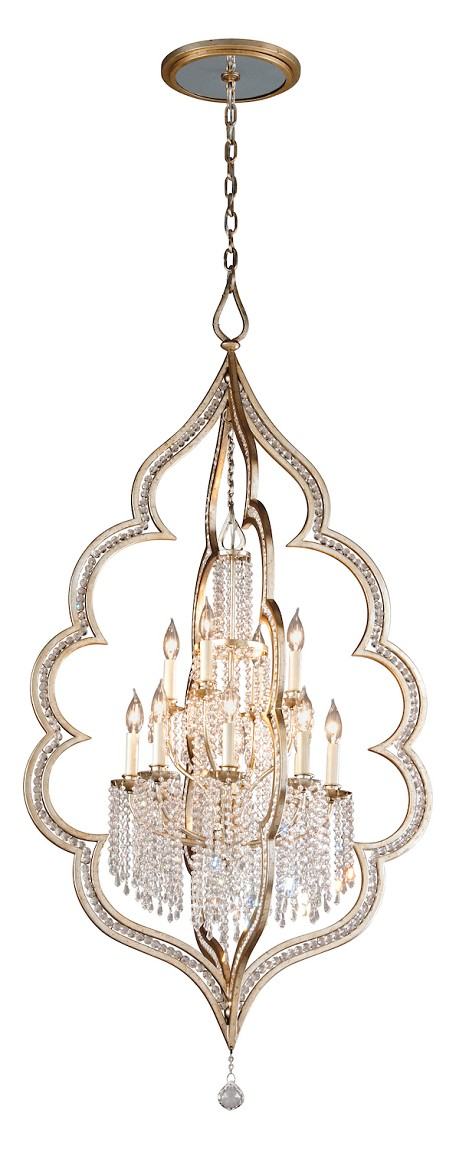 Silver Leaf Finish With Antique Mist Bijoux 12 Light Crystal Accent Foyer Pendant