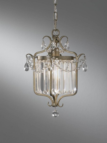 "Gianna Collection 1-Light 14"" Gilded Silver Leaf Mini Chandelier with Crystal F2473/1GS"