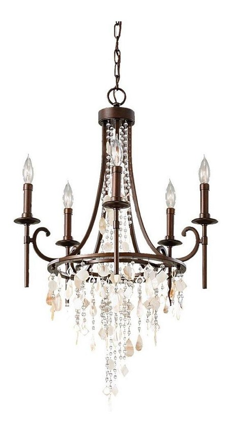 "Cascade Collection 5-Light 21"" Heritage Bronze Chandelier F2663/5HTBZ"