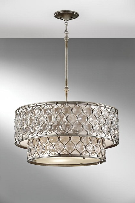Six Light Linen Fabric Shade Burnished Silver Drum Shade Pendant