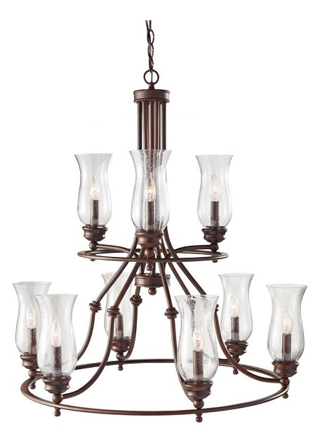 Nine Light Heritage Bronze Clear Seeded Glass Up Chandelier