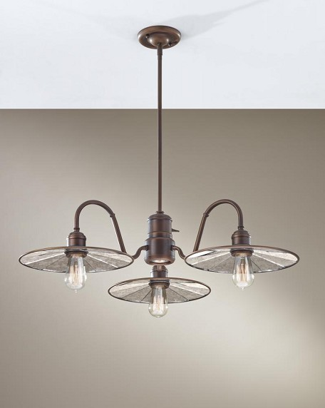 Feiss Four Light Astral Bronze Tiled Glass Down Chandelier - F2823/3+1ASTB