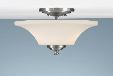 Two Light Brushed Steel Opal Etched Glass Bowl Semi-Flush Mount