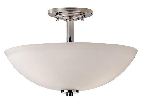 Feiss Three Light Polished Nickel Opal Etched Glass Bowl Semi-Flush Mount - SF308PN