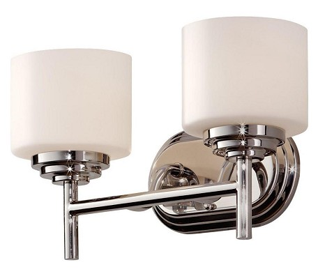 Feiss Two Light Polished Nickel Opal Etched Glass Bathroom Sconce - VS26002-PN