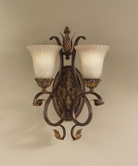 "Sonoma Valley Collection 2-Light 14"" aged Tortoise Shell Wall Light with French Scarvo Glass Shade Shade WB1281ATS"