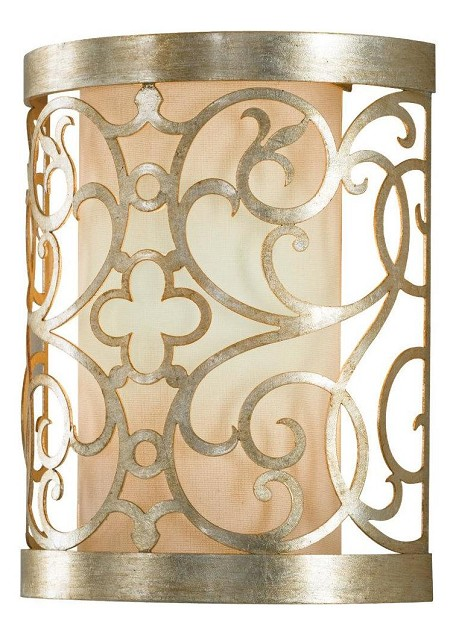 "Arabesque Collection 2-Light 9"" Silver Leaf Patina Cut-Out Wall Sconce WB1485SLP"