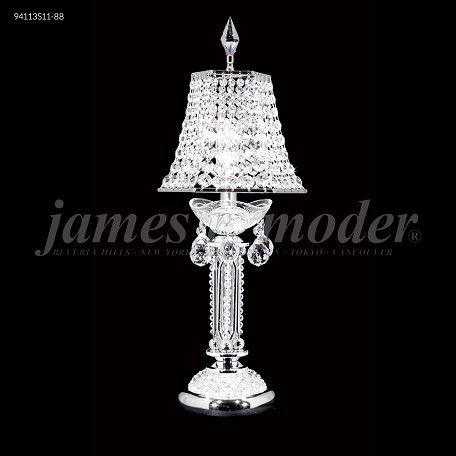 "Princess Collection 1-Light 21"" Silver Table Lamp with Swarovski® SPECTRA® Crystal and Crystal Shade 94113S11-8"