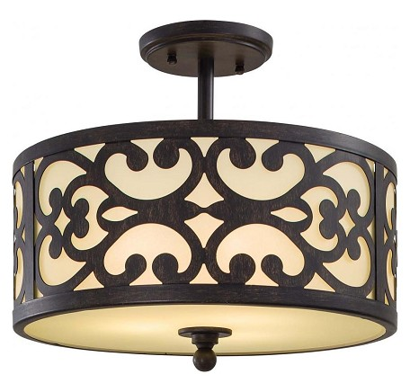 Iron Oxide 3 Light Semi-Flush Ceiling Fixture From The Nanti Collection