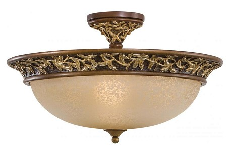 Florence Patina 3 Light 13.75In. Height Semi-Flush Ceiling Fixture From The Salon Grand Collection