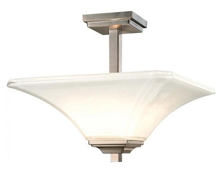 Brushed Nickel 2 Light Semi-Flush Ceiling Fixture From The Agilis Collection