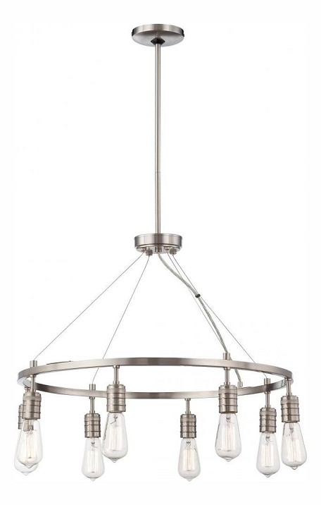 Brushed Nickel 8 Light 1 Tier Chandelier From The Downtown Edison Collection