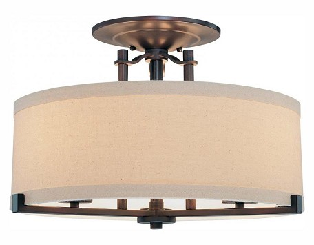 Aged Kinston Bronze 3 Light Semi-Flush Ceiling Fixture From The Ansmith Collection
