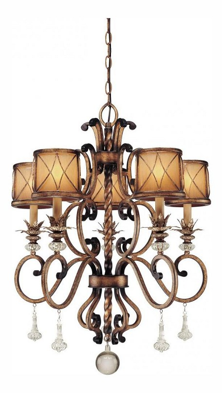 Aston Court Bronze 5 Light 32.75In. Height 1 Tier Crystal Chandelier From The Aston Court Collection