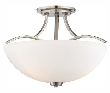 Brushed Nickel 3 Light Semi-Flush Ceiling Fixture In Brushed Nickel From The Overland Park Collection