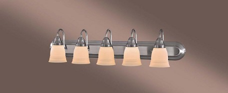 Brushed Nickel 5 Light Bathroom Vanity Light From The Auburn Collection