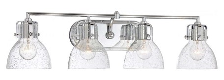 Chrome 4 Light 31.5In. Width Bathroom Vanity Light With Clear Seeded Shade