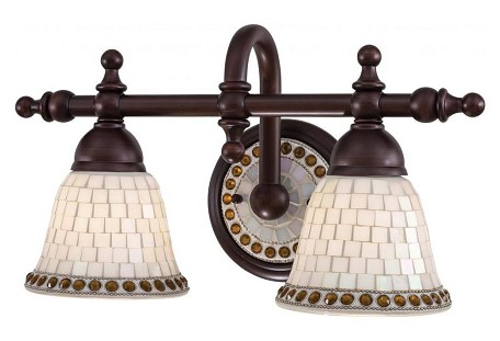 Oil Rubbed Bronze 2 Light Bathroom Vanity Light From The Piastrella Collection