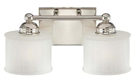 Polished Nickel 2 Light Bathroom Vanity Light With Etched Shade From The 1730 Series Collection