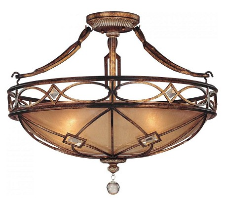 Aston Court Bronze 3 Light Semi-Flush Ceiling Fixture From The Aston Court Collection