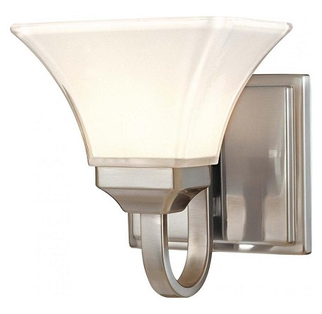 Brushed Nickel 1 Light Bathroom Sconce From The Agilis Collection