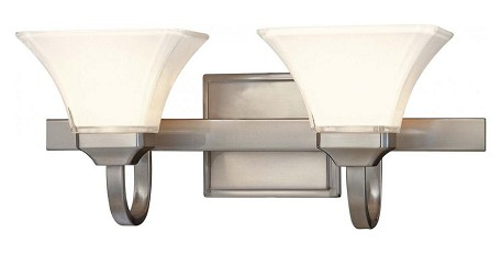 Brushed Nickel 2 Light Bathroom Vanity Light From The Transitional Bath Art Collection