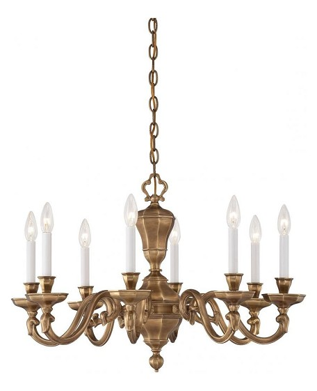 Vintage English Patina 8 Light 1 Tier Candle Style Chandelier In Vintage English Patina From The Casoria Collection