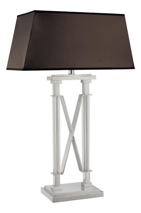 Minka Table Lamp In Chrome Finish With Brown Fabric Shade